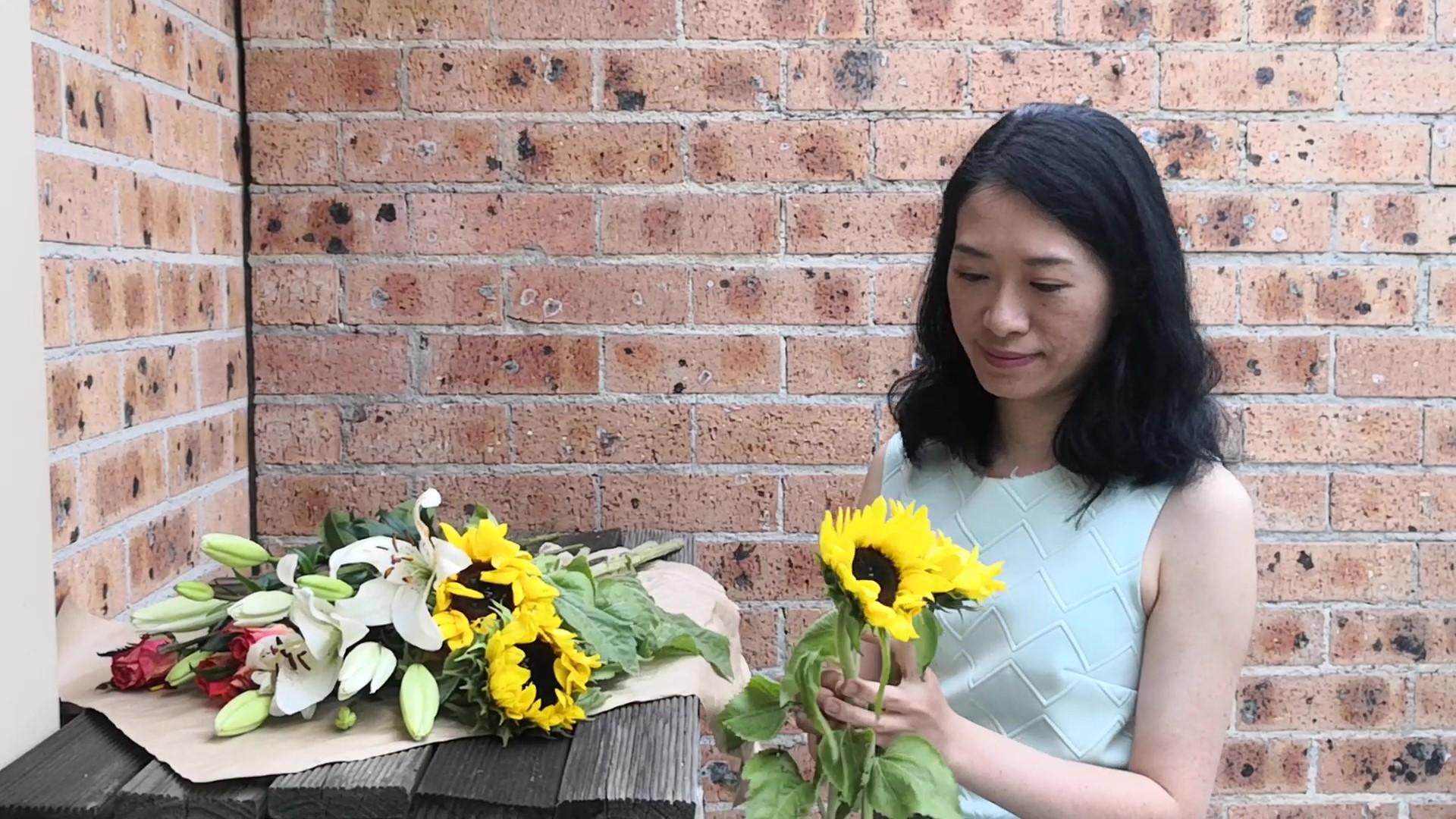 Karin arranging flowers