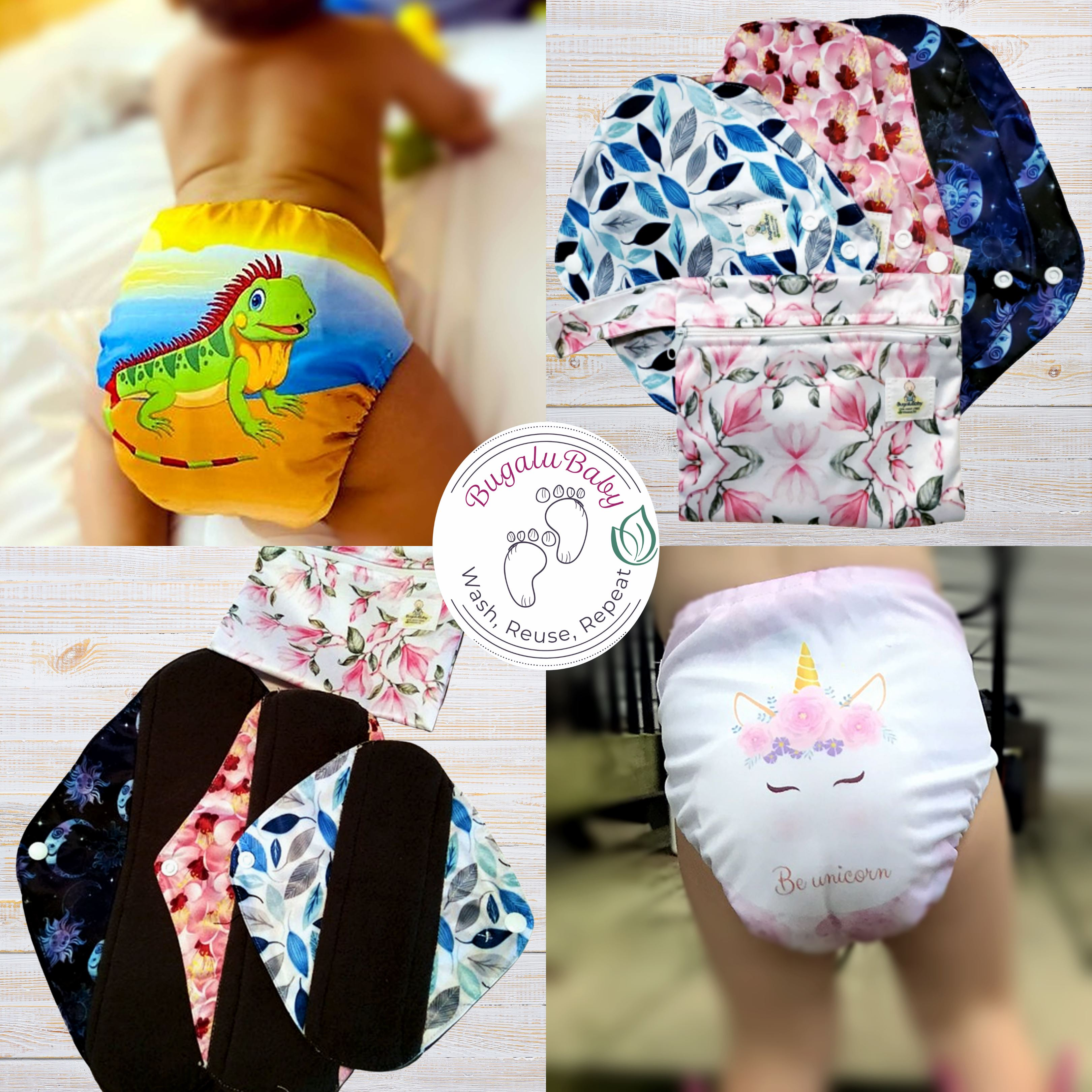 BugaluBaby Eco-Friendly Bamboo Cloth Diapers and Pads